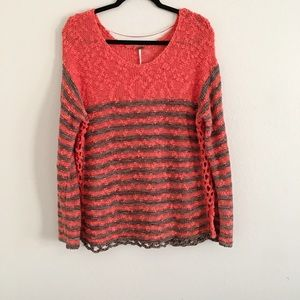 Free People Orange Striped Crochet Sweater